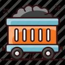 cart, coal cart, coal container, handcart, mining, mining cart, pushcart icon