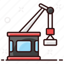 construction crane, excavator, industrial, lifting, machine, port carne, renovation icon