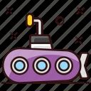 defense vessel, sea vehicle, submarine, travel, underwater vehicle icon