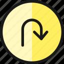 road, sign, u, turn, right