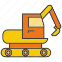 construction, digger, dozer, equipment, excavator, loader machine, vehicle icon