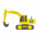 transportation, excavator, machine, construction, vehicle, digger, transport