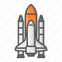 rocket, shuttle, space, spaceship, transport, transportation, vehicle icon