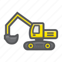 construction, digger, excavator, machine, transport, transportation, vehicle icon