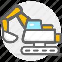 excavator, transport, transportation, truck icon