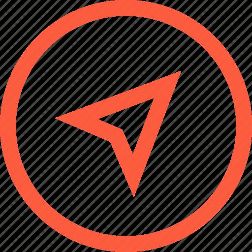 arrow, compass, gps, location, navigation, travel, way icon