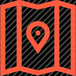 cartography, location, map, mark, navigation, pin, travel icon