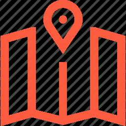 cartography, location, map, navigation, orienteering, travel icon