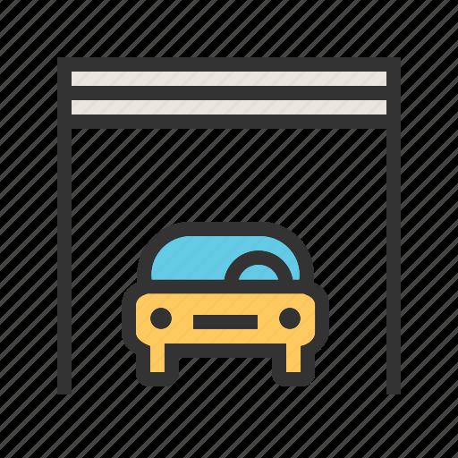 automobile, car, car shop, garage, parking spot, vehicle icon