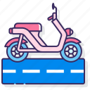 land, moped, motorcycle, transport icon