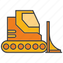bulldozer, construction equipment, mining, tractor, vehicle icon
