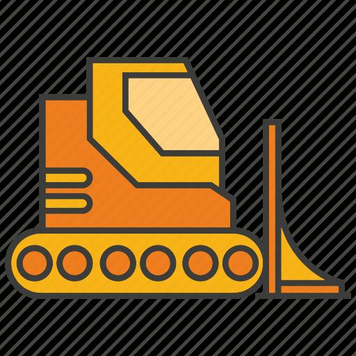 bulldozer, construction equipment, mining, tractor, vehicle icon