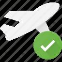 check, flight, plane, transport, transportation, vehicles icon
