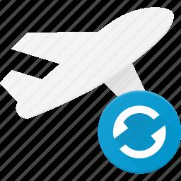 flight, plane, refresh, transport, transportation, vehicles icon