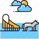dog, dog sled, sled icon