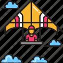 extreme sport, glider, hang glider icon