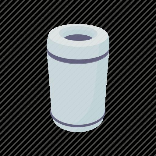 bin, can, cartoon, garbage, rubbish, steel, trash icon