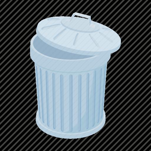 bin, can, cartoon, garbage, grey, rubbish, trash icon