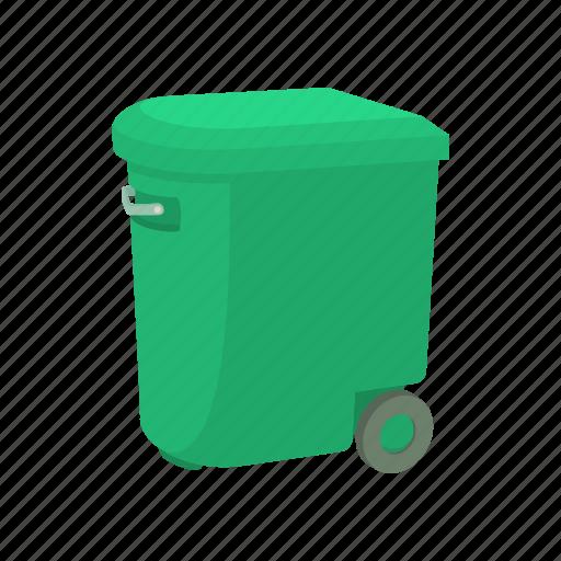 bin, cartoon, container, garbage, street, trash, wheel icon