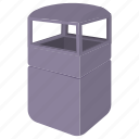 bin, cartoon, container, garbage, grey, street, trash icon