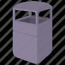 bin, cartoon, container, garbage, grey, street, trash icon