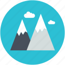 hills, mountains, nature, snowy mountains, triangle shape