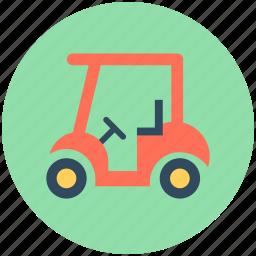 golf car, golf cart, golf motor, golf trolley, vehicle icon