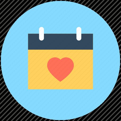 february calendar, heart calendar, love day, valentine day, wall calendar icon