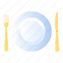 dish, fork, knife icon