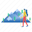 hiker, mountain, trekking icon
