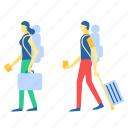 backpack, tourist, traveler, walk icon