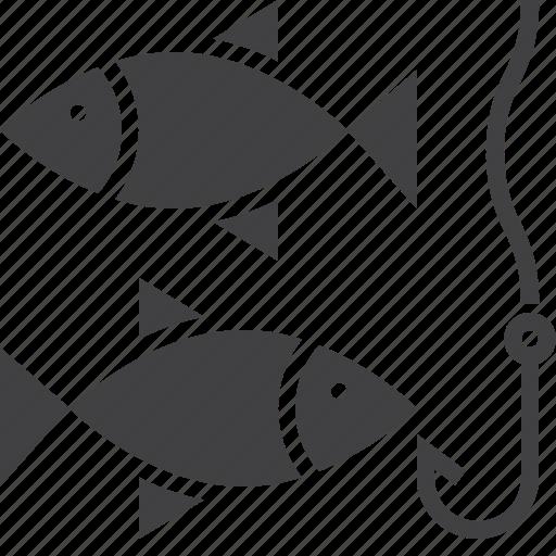 fish, fishing, hook icon