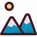 holiday, mountain, tourism, travel, vacation, view icon