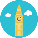 big ben, clock tower, landmark, london, monument icon