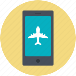 airplane, flight booking, mobile screen, online transaction, travel booking icon