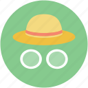 glasses, hat, tourist, travel, traveler icon