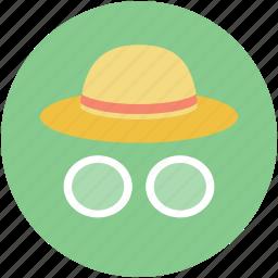 glasses, hat, tourist, travel, traveler icon