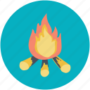 adventure, campfire, fire, heat, picnic icon