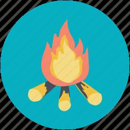 adventure, campfire, fire, heat, picnic icon