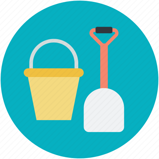 bucket, playtime, sand castle, seaside, spade icon