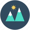 hill station, hills, mountains, nature, snowy mountains icon