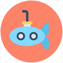 defense vessel, sea, submarine, travel, underwater vehicle icon