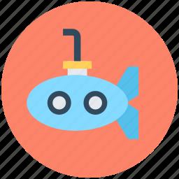 defense vessel, sea, submarine, travel, underwater vehicle icon
