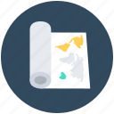 blueprint, folded map, localization, map, travel guide icon