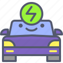 battery, bio, car, charge, eco, electric, transport icon