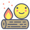 adventure, firecamp, trip, wood icon
