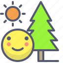 activity, adventure, day, forest, smile, sun, tree icon