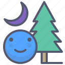 adventure, forest, moon, night, smile, tree