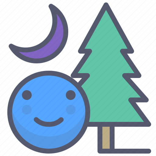 adventure, forest, moon, night, smile, tree icon