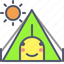 adventure, day, sun, tent, trip icon
